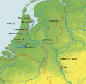 Routenkarte Phoenix Reisen - Höhepunkte in Holland